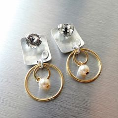 Marjorie Baer Rounded Rectangle with Double Rings and Pearl Earrings - product images 5 of 10