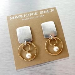 Marjorie Baer Rounded Rectangle with Double Rings and Pearl Earrings - product images 8 of 10