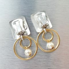 Marjorie Baer Rounded Rectangle with Double Rings and Pearl Earrings - product images 6 of 10