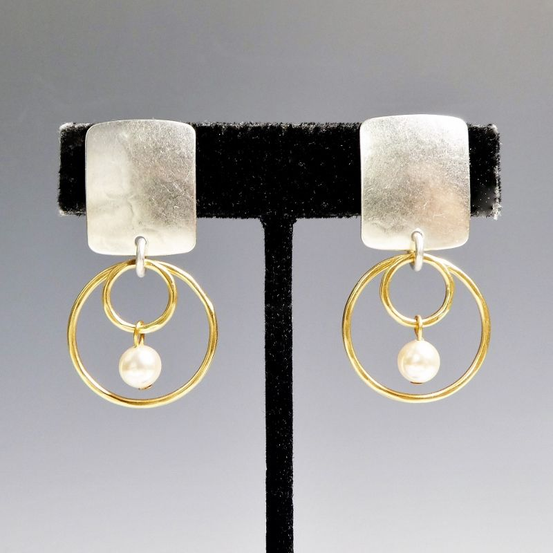 Marjorie Baer Rounded Rectangle with Double Rings and Pearl Earrings - product image