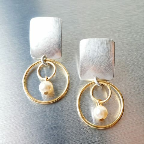 Marjorie,Baer,Rounded,Rectangle,with,Double,Rings,and,Pearl,Earrings,Marjorie Baer Rounded Rectangle with Double Rings and Pearl Earrings