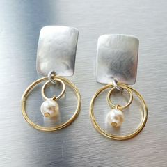 Marjorie Baer Rounded Rectangle with Double Rings and Pearl Earrings - product images 3 of 10