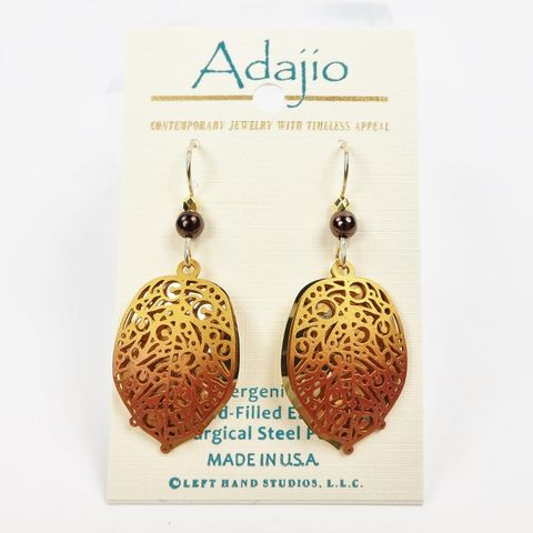 Adajio,Earrings,-,Brown,Abstract,Leaf,Over,Gold,Plated,Background,Adajio 7905, Adajio Earrings, Adajio earrings Sienna Sky, Etched Brass Earrings, Artisan Handmade
