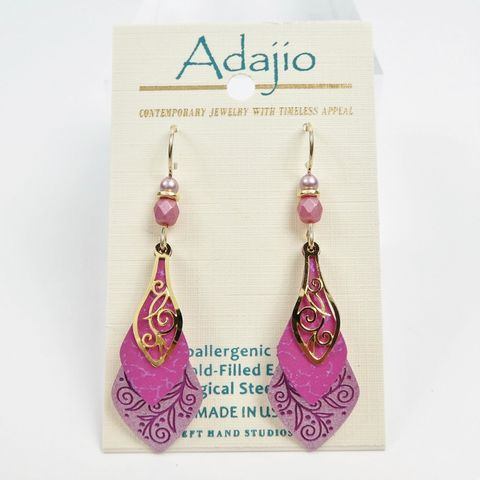Adajio,Earrings,-,Pink,3-Part,Necktie,Adajio 7921, Adajio Earrings, Adajio earrings Sienna Sky, Etched Brass Earrings, Artisan Handmade