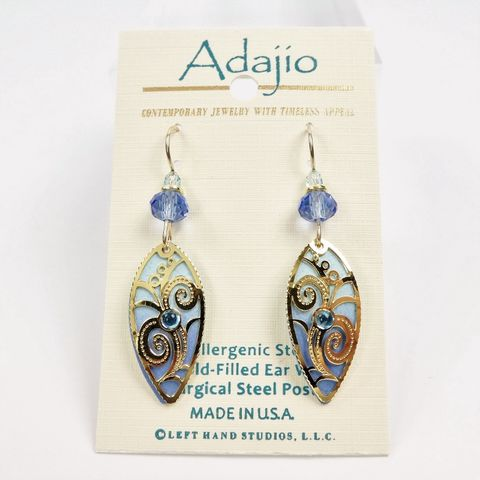 Adajio,Earrings,-,Light,blue,pointed,oval,with,Gold,Plated,floral,overlay,Adajio 7926, Adajio Earrings, Adajio earrings Sienna Sky, Etched Brass Earrings, Artisan Handmade