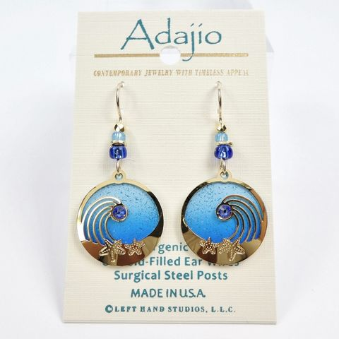 Adajio,Earrings,-,Shiny,Gold,Waves,Above,Blue,Sea,Disc,Adajio 7922, Adajio Earrings, Adajio earrings Sienna Sky, Etched Brass Earrings, Artisan Handmade
