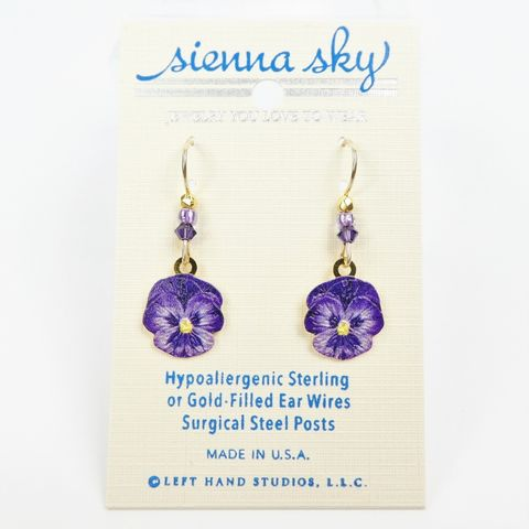 Sienna,Sky,Earrings,-,Purple,Pansy,Flower,Sienna Sky Earrings,  Sienna Sky Purple Pansy Flower Earrings, Sienna Sky 2101