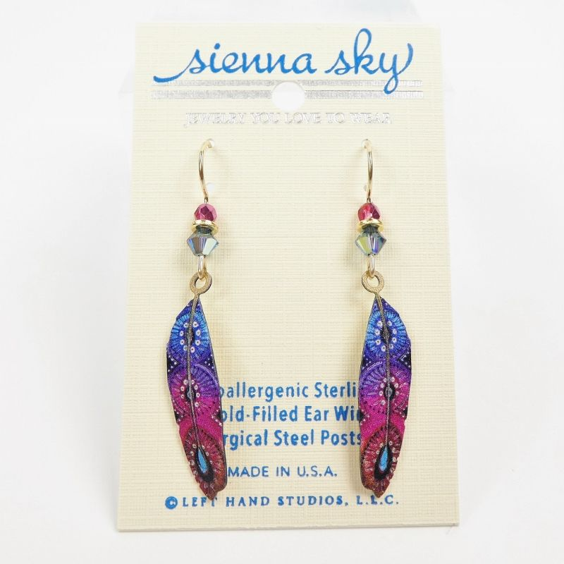 Sienna Sky Earrings - Blue and Pink Colorful Feather - product image