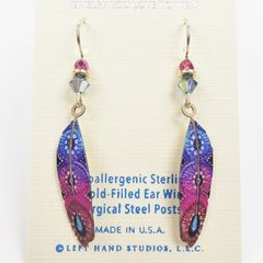Sienna Sky Earrings - Blue and Pink Colorful Feather - product images 2 of 3