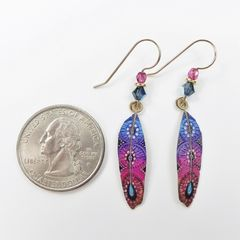 Sienna Sky Earrings - Blue and Pink Colorful Feather - product images 3 of 3