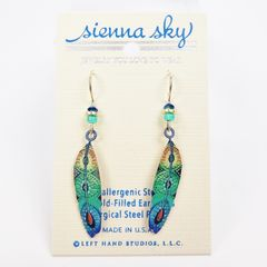 Sienna Sky Earrings - Blue and Green Colorful Feather - product images 1 of 3