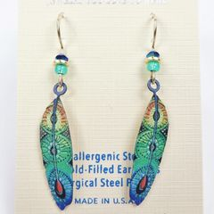 Sienna Sky Earrings - Blue and Green Colorful Feather - product images 2 of 3