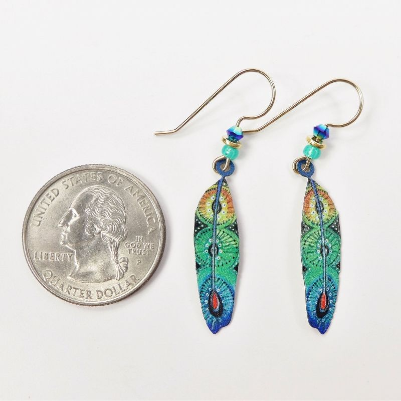 Sienna Sky Earrings - Blue and Green Colorful Feather - product image