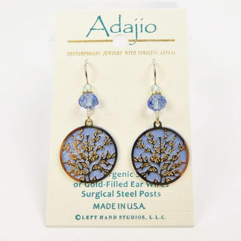 Adajio,Earrings,-,Shiny,Gold,Plated,Floral,Design,Over,Blue,Disc,Adajio 7910, Adajio Earrings, Adajio earrings Sienna Sky, Etched Brass Earrings, Artisan Handmade