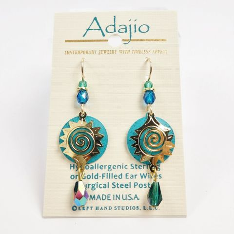 Adajio,Earrings,-,Shiny,Gold,Plated,Starburst,Design,Over,Teal,Blue,Disc,with,Beads,Adajio 7925, Adajio Earrings, Adajio earrings Sienna Sky, Etched Brass Earrings, Artisan Handmade