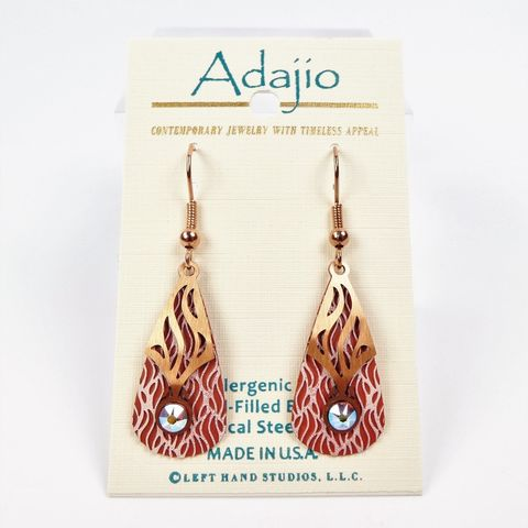 Adajio,Earrings,-,Pink,and,Brown,Teardrop,with,Copper,Abstract,Overlay,Cabachon,Adajio 7924, Adajio Earrings, Adajio earrings Sienna Sky, Etched Brass Earrings, Artisan Handmade