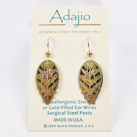 Adajio,Earrings,-,Glittering,Gold,Abstract,Leaves,Filigree,on,Shiny,Silver,Teardrop,Back,Adajio 7908, Adajio Earrings, Adajio earrings Sienna Sky, Etched Brass Earrings, Artisan Handmade