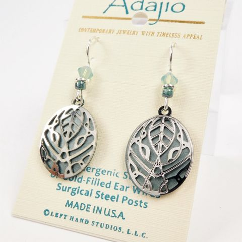 Adajio,Earrings,-,Shiny,Silver,Abstract,Leaves,Filigree,on,Olive,Green,Oval,Adajio 7901, Adajio Earrings, Adajio earrings Sienna Sky, Etched Brass Earrings, Artisan Handmade