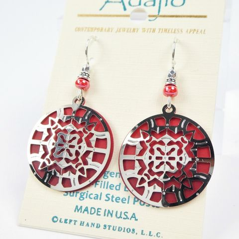 Adajio,Earrings,-,Shiny,Silver,Kaleidoscope,Filigree,on,Red,Disc,Adajio 7899, Adajio Earrings, Adajio earrings Sienna Sky, Etched Brass Earrings, Artisan Handmade