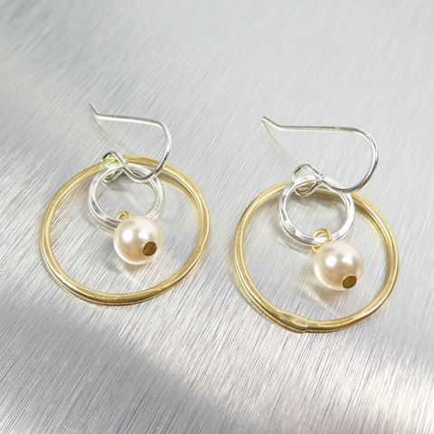 Marjorie,Baer,Small,Wire,Rings,with,Cream,Pearl,Drop,Earrings,Marjorie Baer Small Wire Rings with Cream Pearl Drop Earrings