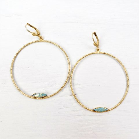 Catherine,Popesco,Large,Textured,Hoop,Earrings,with,Crystal,in,Pacific,Opal,Catherine Popesco Earrings, La Vie Parisienne Earrings, Catherine Popesco Jewelry, Catherine Popesco Paris