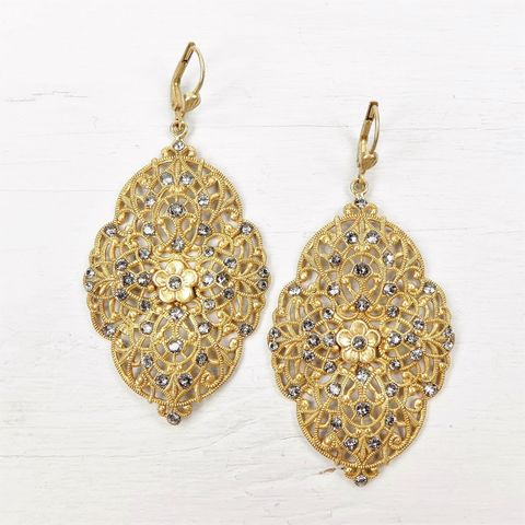 Catherine,Popesco,Large,Marquise,Filigree,Earrings,with,Crystals,Catherine Popesco Earrings, La Vie Parisienne Earrings, Catherine Popesco Jewelry, Catherine Popesco Paris