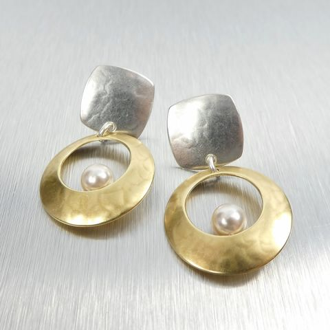 Marjorie,Baer,Square,with,Cutout,Disc,&,Floating,Cream,Pearl,Earrings,Marjorie Baer Square with Cutout Disc & Floating Cream Pearl Earrings