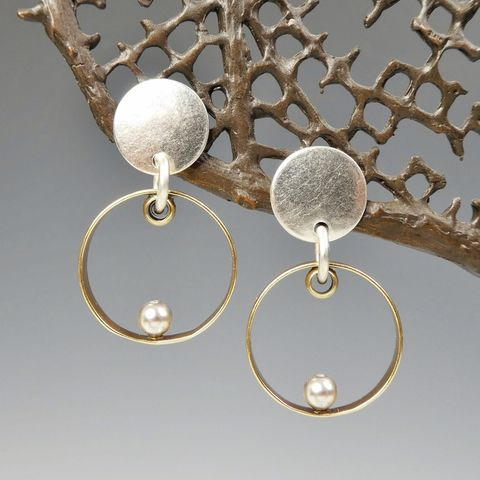 Marjorie,Baer,Disc,with,Ring,and,Grey,Pearl,Earrings,Marjorie Baer Disc with Ring and Grey Pearl Earrings
