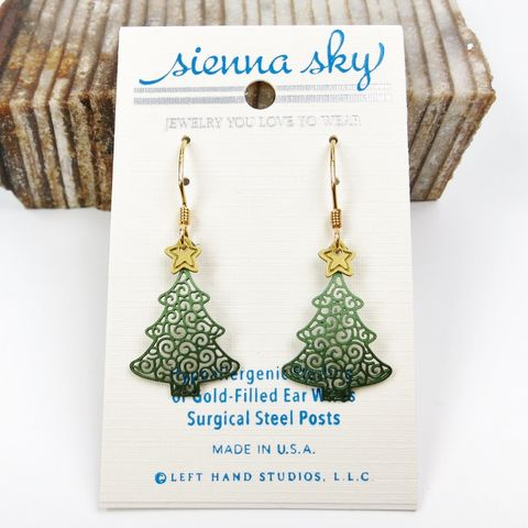 Sienna,Sky,Earrings,-,Filigree,Green,Christmas,Tree,with,Yellow,Star,Sienna Sky Earrings,  Sienna Sky Filigree Green Christmas Tree with Yellow Star Earrings, Sienna Sky 1835