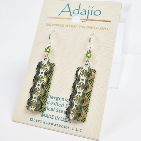 Adajio,Earrings,-,Shiny,Silver,Tone,Geometric,Design,Over,Olive,Green,Column,Adajio 7900, Adajio Earrings, Adajio earrings Sienna Sky, Etched Brass Earrings, Artisan Handmade
