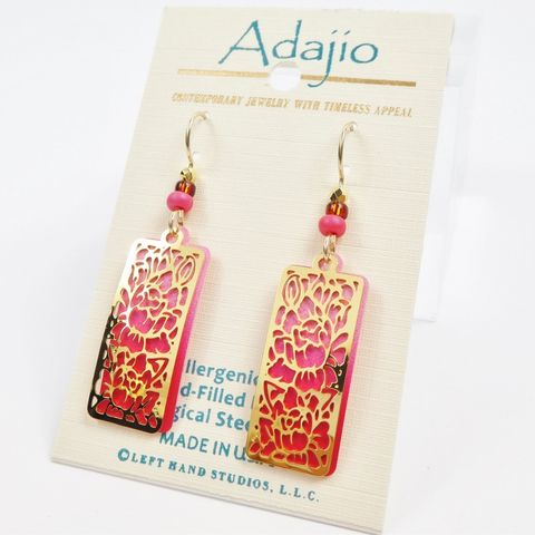 Adajio,Earrings,-,Shiny,Gold,Plated,Floral,Design,Over,Ombre,Pink,Column,Adajio 7903, Adajio Earrings, Adajio earrings Sienna Sky, Etched Brass Earrings, Artisan Handmade