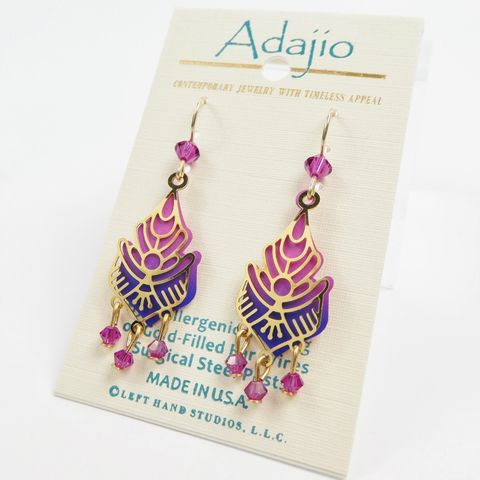 Adajio,Earrings,-,Shiny,Gold,Plated,Floral,Design,Over,Pink,and,Blue,Drop,with,Beads,Adajio 7906, Adajio Earrings, Adajio earrings Sienna Sky, Etched Brass Earrings, Artisan Handmade