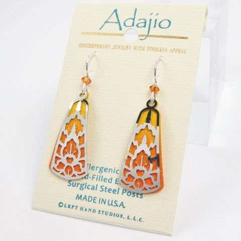 Adajio,Earrings,-,Shiny,Silver,Tone,Abstract,Design,Over,Orange,Teardrop,Adajio 7909, Adajio Earrings, Adajio earrings Sienna Sky, Etched Brass Earrings, Artisan Handmade