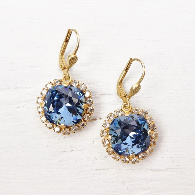 Catherine Popesco Stone Border Crystal Earrings in Midnight - product image