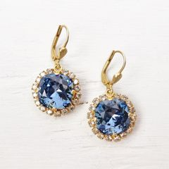 Catherine Popesco Stone Border Crystal Earrings in Midnight - product images 2 of 6