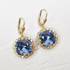 Catherine Popesco Stone Border Crystal Earrings in Midnight - product images 3 of 6