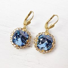 Catherine Popesco Stone Border Crystal Earrings in Midnight - product images 4 of 6
