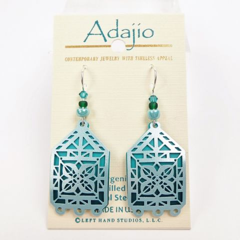Adajio,Earrings,-,Pale,Blue,Kaleidoscope,Filigree,Over,Dark,Adajio 7898, Adajio Earrings, Adajio earrings Sienna Sky, Etched Brass Earrings, Artisan Handmade