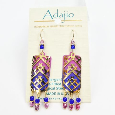 Adajio,Earrings,-,Shiny,Gold,Plated,Abstract,Triangle,Filigree,over,Pink,and,Blue,Ombre,Adajio 7914, Adajio Earrings, Adajio earrings Sienna Sky, Etched Brass Earrings, Artisan Handmade