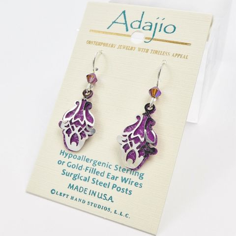 Adajio,Earrings,-,Shiny,Silver,Tone,Abstract,Flower,Design,Over,Purple,Background,Adajio 7907, Adajio Earrings, Adajio earrings Sienna Sky, Etched Brass Earrings, Artisan Handmade