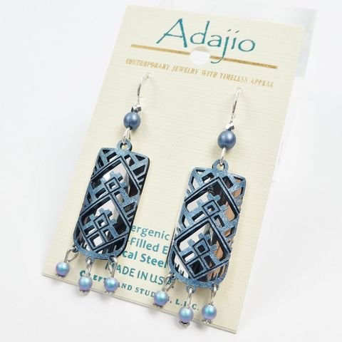 Adajio,Earrings,-,Hand,Painted,Blue,Abstract,Design,Over,Shiny,Silver,Column,Adajio 7917, Adajio Earrings, Adajio earrings Sienna Sky, Etched Brass Earrings, Artisan Handmade