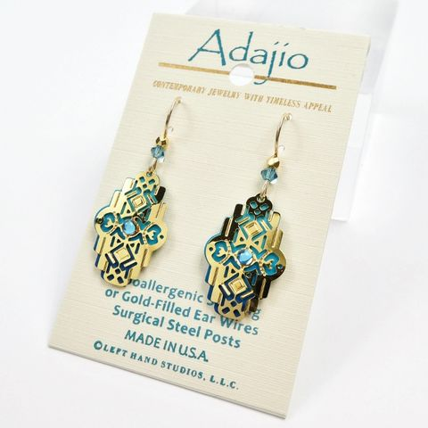 Adajio,Earrings,-,Shiny,Gold,Plated,Deco,Design,over,Ombre,Teal,Background,Adajio 7915, Adajio Earrings, Adajio earrings Sienna Sky, Etched Brass Earrings, Artisan Handmade