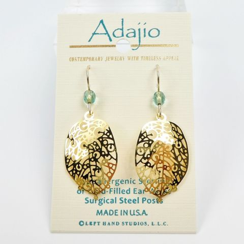 Adajio,Earrings,-,Shiny,Gold,Plated,Abstract,Leaf,Adajio 7904, Adajio Earrings, Adajio earrings Sienna Sky, Etched Brass Earrings, Artisan Handmade