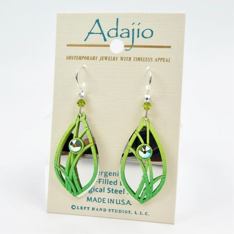 Adajio,Earrings,-,Vibrant,Lime,Green,Grasses,over,Shiny,Silver,Tone,Teardrop,Adajio 7919, Adajio Earrings, Adajio earrings Sienna Sky, Etched Brass Earrings, Artisan Handmade
