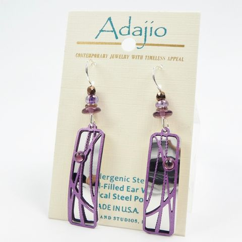 Adajio,Earrings,-,Purple,'Reeds',over,Shiny,Silver,Tone,Teardrop,Adajio 7918, Adajio Earrings, Adajio earrings Sienna Sky, Etched Brass Earrings, Artisan Handmade