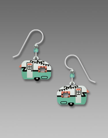 Sienna,Sky,Earrings,-,Vintage,Camper,Trailer,in,Aqua,Sienna Sky Earrings, Adajio earrings Sienna Sky, Etched Brass Earrings, Camper Trailer Earrings