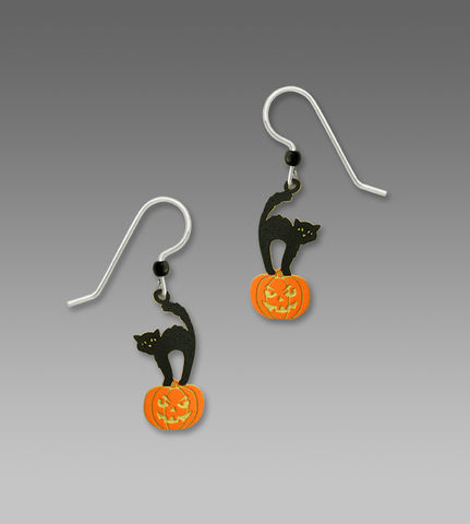 Sienna,Sky,Earrings,-,Black,Halloween,Cat,Standing,on,Pumpkin,Sienna Sky Earrings,  Sienna Sky Black Halloween Cat Standing on Pumpkin Earrings, Sienna Sky 1939