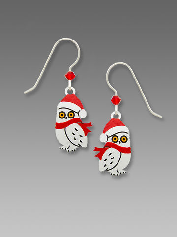 Sienna,Sky,Earrings,-,Owl,with,Scarf,and,Santa,Hat,Sienna Sky Earrings, Adajio earrings Sienna Sky, Etched Brass Earrings, Owl with Scarf and Santa Hat