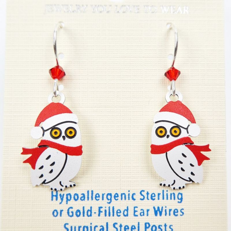 Sienna Sky Earrings - Owl with Scarf and Santa Hat - product image