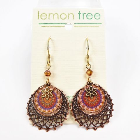 Lemon,Tree,-,Copper,Lace,With,Kaleidoscope,Print,Disc,Earrings,Lemon Tree Earrings Colorado, Lemon Tree Earrings Copper Lace With Kaleidoscope Print Disc Earrings Earrings